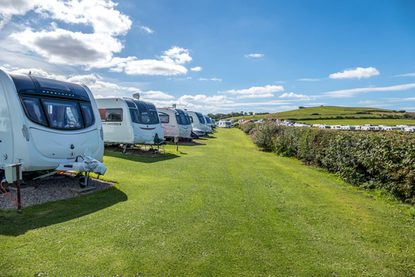 The neat and tidy caravan pitches at Sandfield House Farm Caravan and Camping Park, Whitby