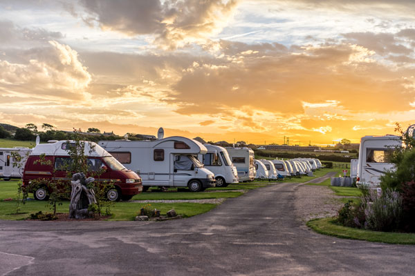 Beautiful evening shot at Sandfield House Farm Caravan and Camping Park, Whitby