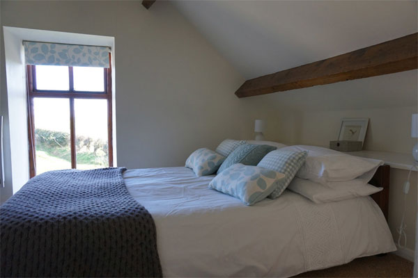 The light and airy double bedroom at The Hayloft, Whitby