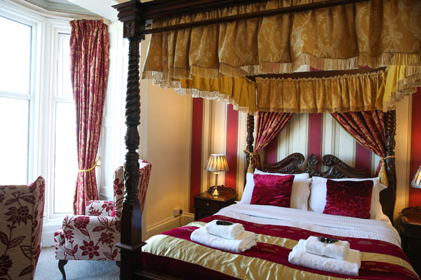 A stunning four poster bedroom at The Riviera Guest House, Whitby