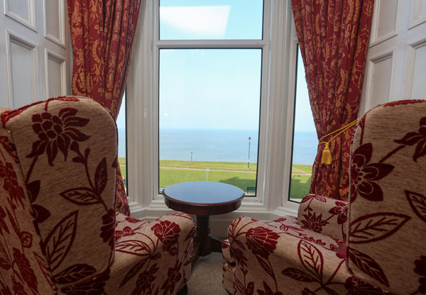 The magnificent view from a four poster bedroom at The Riviera Guest House, Whitby