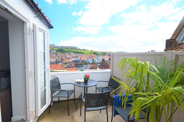 The quaint outside space at Cobble Cottage, Whitby Holiday Cottages