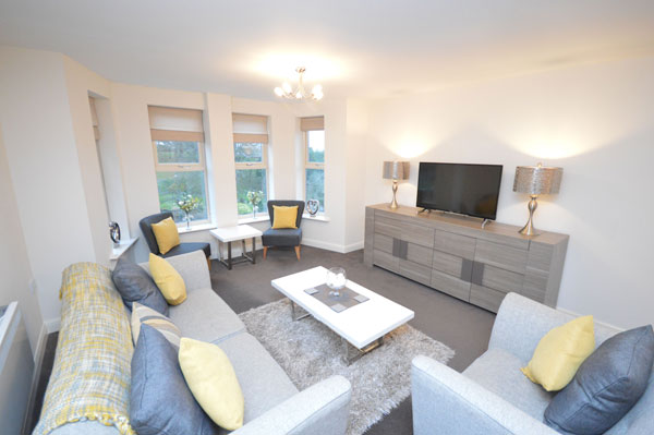 The light and airy lounge at Whitby Vista Apartment, Whitby Holiday Cottages