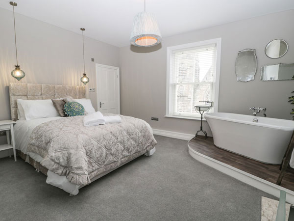 A light and airy double bedroom at Sykes Cottages, Whitby