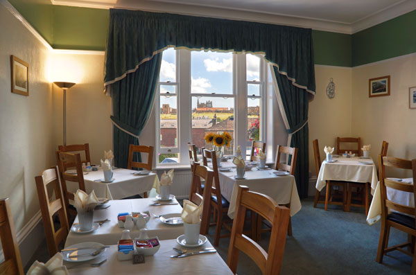 The light dining room at Number Seven Guest House, Whitby