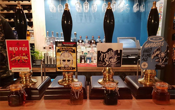 A selection of handpulled beer available at The Arch and Abbey, Whitby